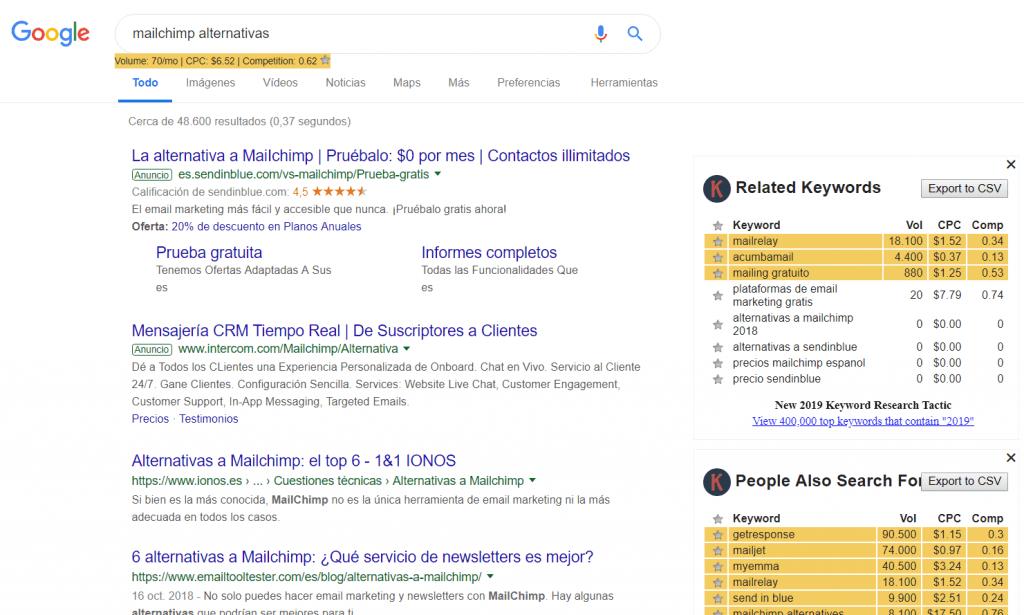 Keyword Everywhere en Google
