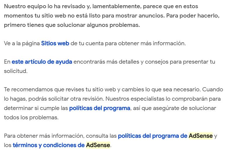 Web rechazada en Adsense